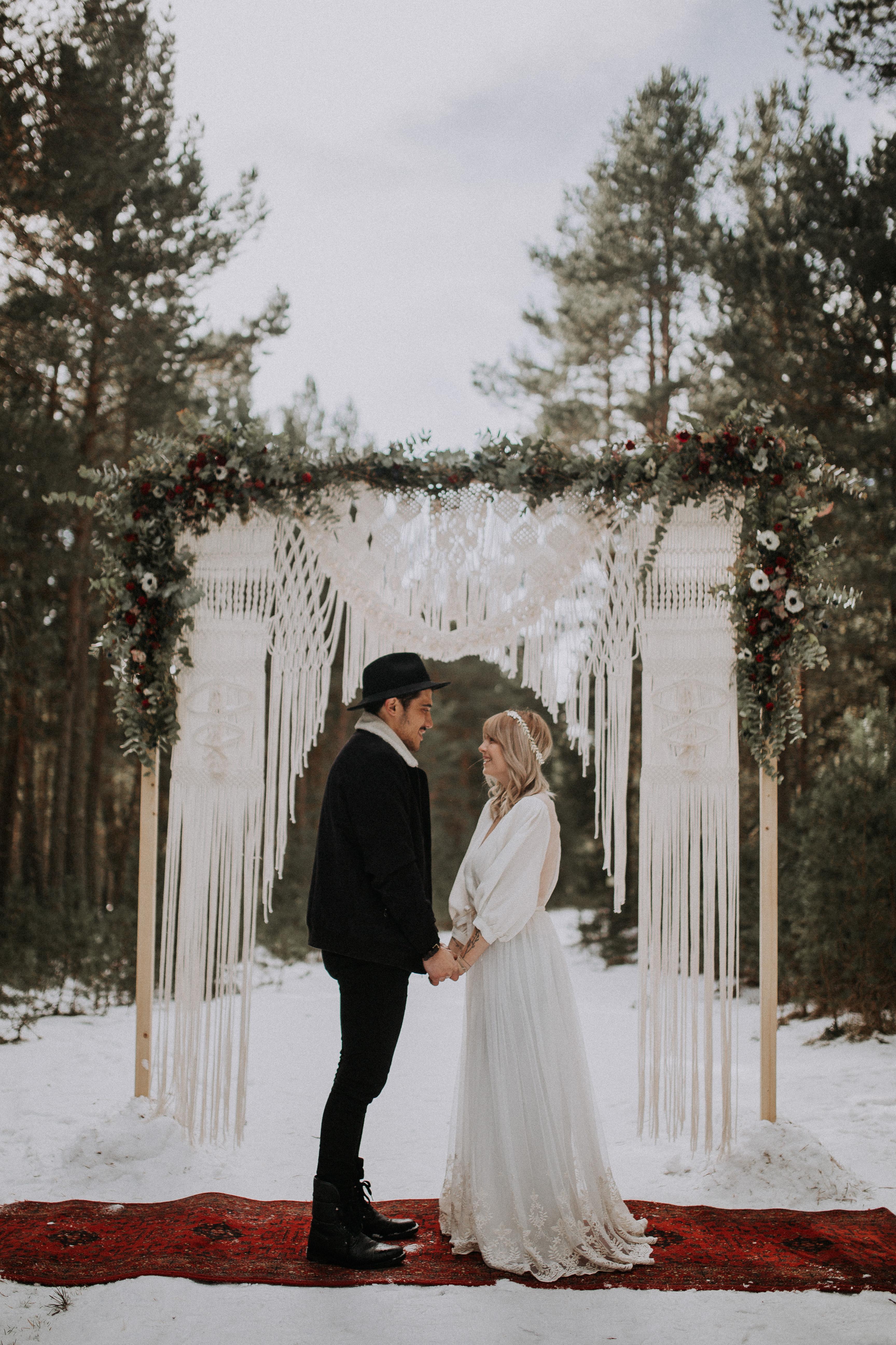 robe de mariée hiver mariage montagne foret